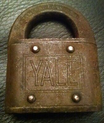 Vintage Yale & Towne Padlock Brass Steel Old Antique Lock No Key Made In Usa