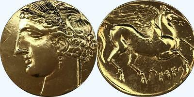 Tanit & Pegasus, Great Goddess of Carthage, Greek Coin, Greek Mythology (13-G)