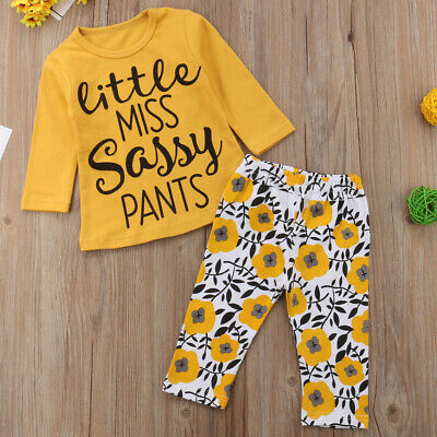 2PCS Cotton Blend Toddler Daily Baby Girl Set Letter Print Floral Tops And Pants