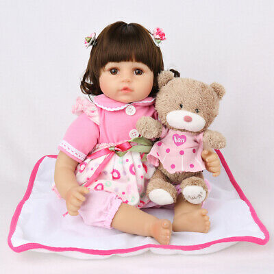 "16"" Baby Reborn Doll Soft Vinyl Silicon Baby Toddler Girl Reborn Dolls+Clothes"