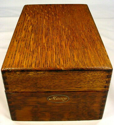 Vintage Macey Arts Crafts Mission Oak Dovetail Wood Card File Box