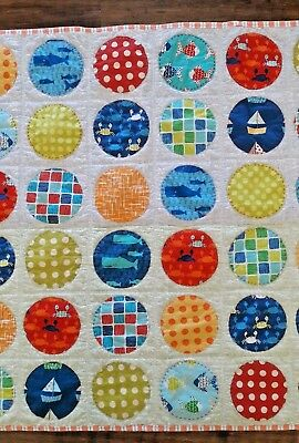 Baby Blanket Floor Patchwork Patches Beach Fish Boats Boys Girl Whales Blue