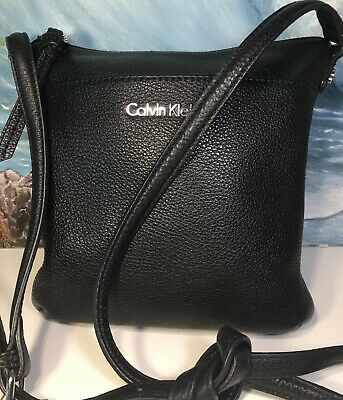 4abf42eccb calvin klein crossbody Black Leather Silver Hardware Adjustable Strap EUC  8x7x2