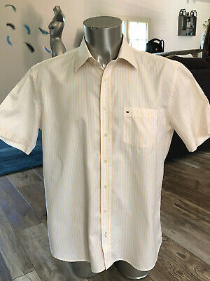 Shirt short Sleeve Striped Yellow Tommy Hilfiger T 43 17 (XL) like New