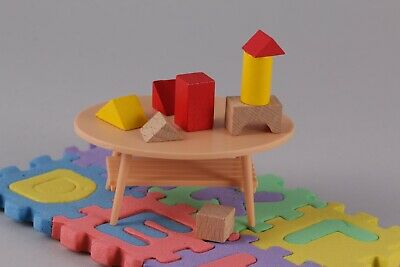 Miniature 1:12 Scale Blocks Toys Wooden Table Play Room Kids Nursery Toy Baby