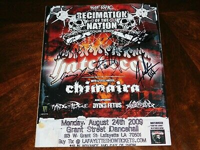 Hatebreed Band Signed Decimation Of A Nation 11X14 Tour Poster Jamey Jasta!!!