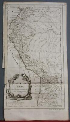 Peru & Northern Chile 1754 Jacques Nicolas Bellin Antique Copper Engraved Map