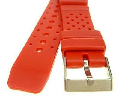 """20mm RED Rubber Sport Diver Watch Strap Band """"ND Limits"""" WR151"""