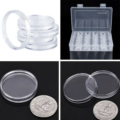 100 Pieces Coin Cases Capsules Holder Useful Clear Plastic Round Storage Box