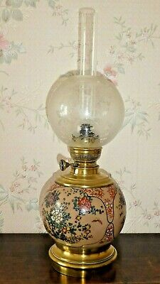 Ancienne Lampe A Petrole Style Japonisante En Faience Emaillee Gien Choisy Leroi