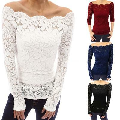 Plus Size Womens Lace Up Long Sleeve Blouse Off Shoulder T-Shirt Slim Fit Tops