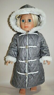 """American Girl Dolls Our Generation 18"""" Doll Clothes Long Grey Hooded Jacket"""