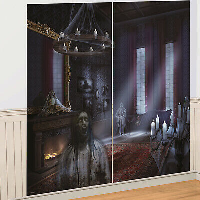 Haunted House Dark Manor Room Eerie Halloween Party Scene Setter Wall Decoration