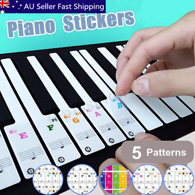 37/49/61/88 Key Set Music Keyboard Piano Stickers Musical Scale Note