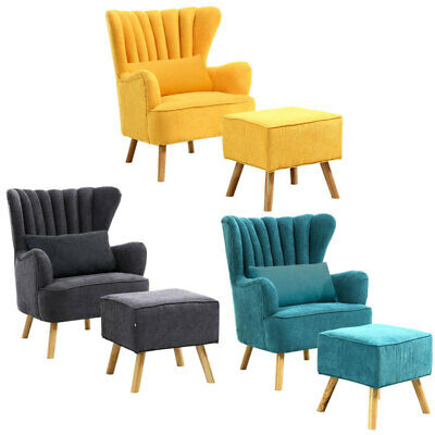 Chesterfield Queen Anne Wing Cocktail Chair Armchair Scalloped Sofa with Stool