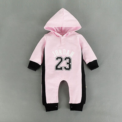 Baby Jordan 23 Romper +Hat Girl Long Sleeve Babygrow Outfits Clothes Pink 3-6 M