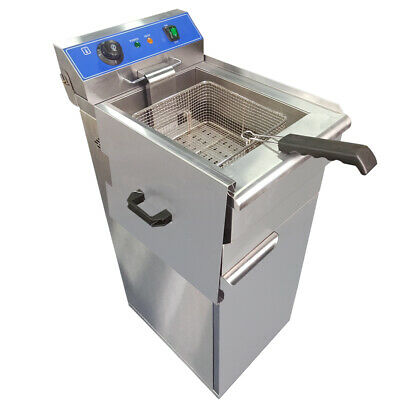 Stainless Steel Electric Deep Fryer Commercial Countertop Fat Chip 16L 5000W