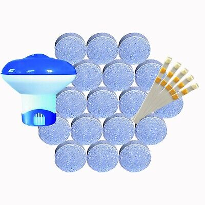 40 x 20g Chlorine Tablets with Dispenser & Test Strips  POOL HOTTUB SPA Full Kit
