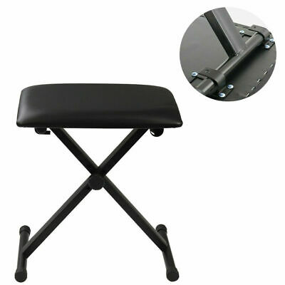 Piano Stool Keyboard Bench Black Padded Cushion Chair Adjustable Height UKES