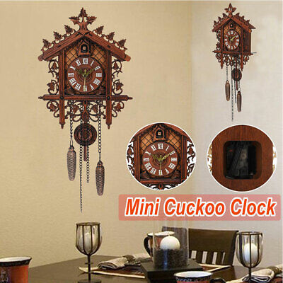 Antique Wooden Cuckoo Wall Clock Time Bell Alarm Vintage Swing Clock Home Decor