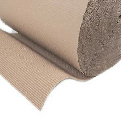 """4 Corrugated Cardboard Paper Rolls 450mm (17.5"""") x 75m Packing Postal Wrapping"""
