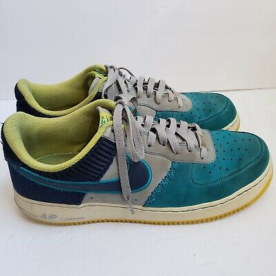best service 2909f 8c0e0 Nike Air Force 1 Low Wolf Grey Mid Navy Tropical Teal 488298-039 sz 11.5