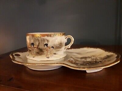 Antique Japanese Late Meiji Period Porcelain Cup & Saucer