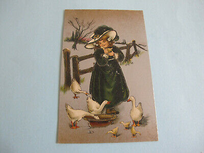 Girl with Ducks Glitter attractive Postcard