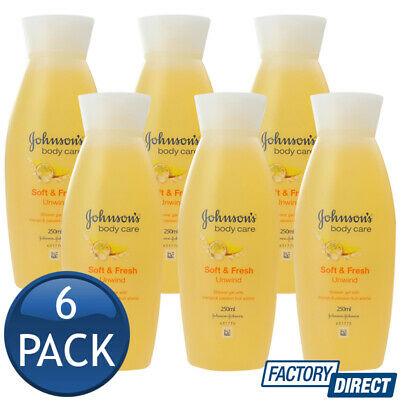 6 x JOHNSONS SHOWER GEL BABY ADULT BATH BODY WASH SOFT & FRESH UNWIND 250mL