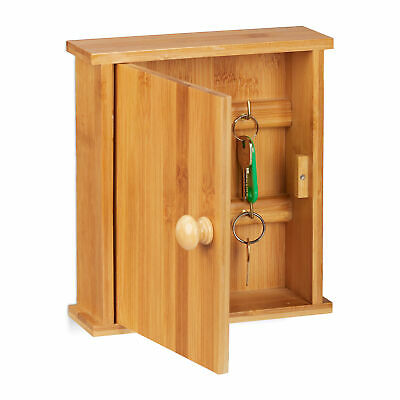 Bamboo Key Rack, Wooden Key Organiser Cabinet, 6 Hooks, Natural Box