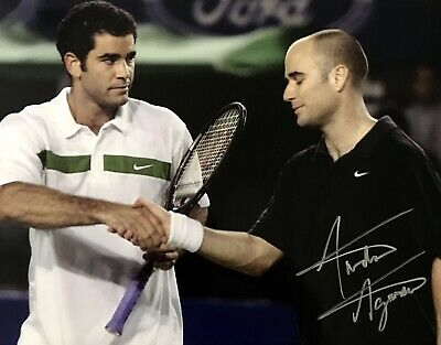 Andre Agassi HAND SIGNED 10x8 Tennis Photograph *IN PERSON* COA *Full Signature*