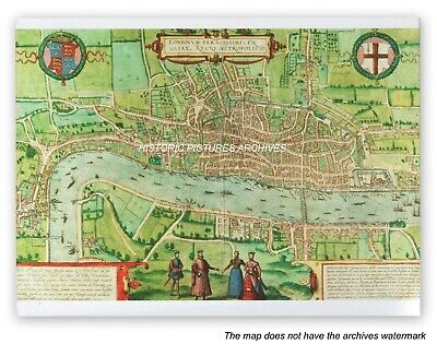 Historic Hardback Map - Plan  View Of London 1574 A.d. Inc Tower Of London