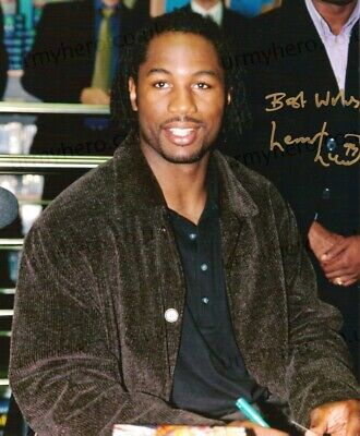 Lennox Lewis HAND SIGNED 10x8 Boxing Champion Photograph *IN PERSON* COA Tyson