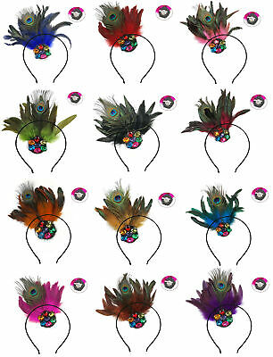 Women Fascinator Peacock Feather Hair Headband Clip Brooch Party Dancing Red