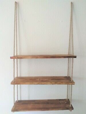 Rustic Hanging Shelf Distressed 60 CM Pine Wood Hemp Rope UK Stock Easy Assemble