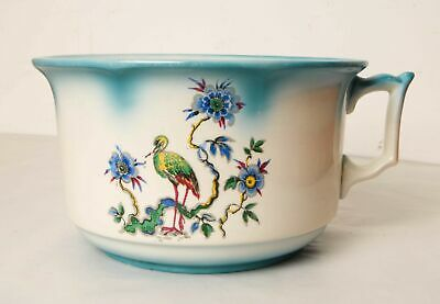 New Hall Hanley Chamber Pot with Floral and Bird Pattern