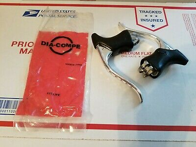 NOS Dia-Compe Silver Drillium Brake Levers  w/Black Hoods Road Vintage LOT OF 10