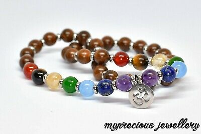 Natural Rosewood Bracelet Gemstone 27 Beads Wrap Chakra Om Stainless Steel Reiki