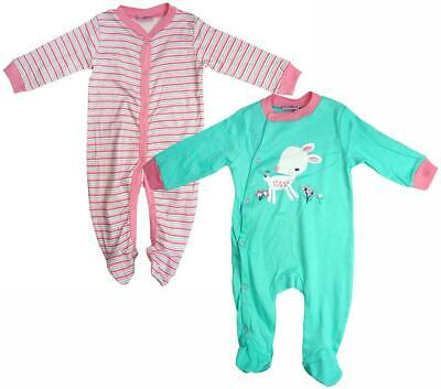 Girls Sleepsuit 2 Pack Little Deer Babygro Rompers Newborn Baby to 9 Months