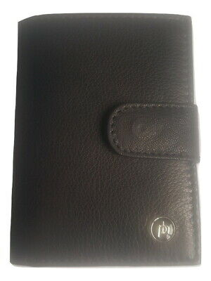Real Leather ID Metal Slider Credit Card Holder RFID Pop Up Wallet Cash Holder