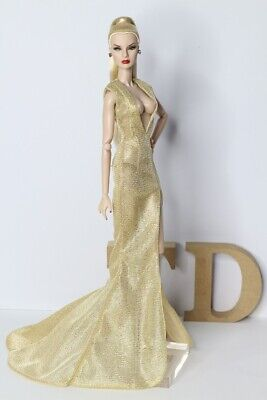 Evening Dress Outfit Gown Golden Silkstone  Fashion Royalty Model Doll