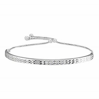"""7.8"""" Italian Classic Bubble Strands Bracelet in 18K White Gold Plated ITALY"""
