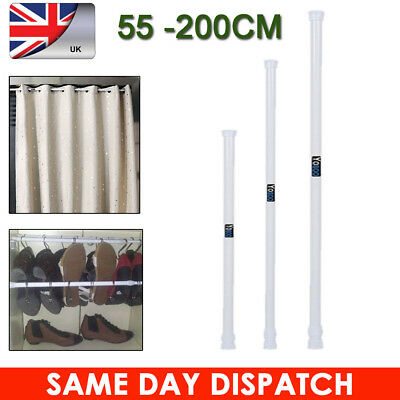 55-200CM Net Voile Tension Curtain Rail Pole Rod Rods Spring Loaded Extendable