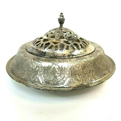 Vintage Silverplate Wilcox SP Co Paisley N811 Centerpiece w/ Frog (lid) 10""