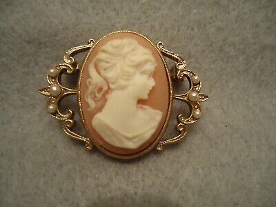 Vintage Resin & Seed Pearl Victorian Style Elegant Lady Cameo Brooch Pin