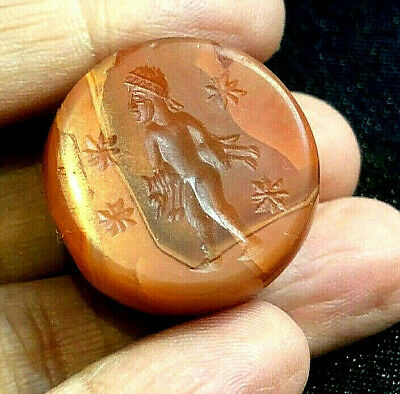 Ancient Carnelian Intaglio Man Brings Home Fox Old Lifestyle Signet Seal Bead