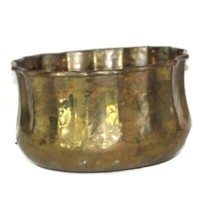 Vintage Brass Large Planter Pot Solid Brass India Oval Ornate Patina ruffed edge