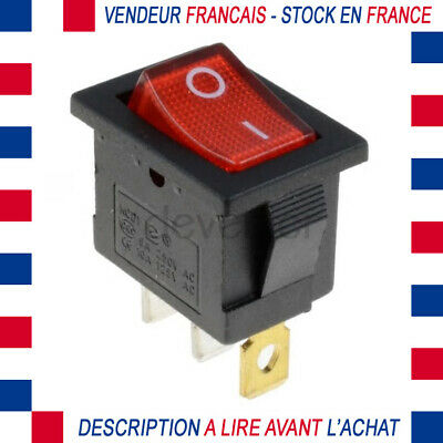 INTERRUPTEUR LUMINEUX ON OFF 2 POSITIONS 250V 6A A CLIPSER 19x13MM ROUGE