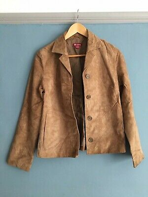 Ladies Tan Coloured Suede Leather Jacket by Monsoon, UK Size 8