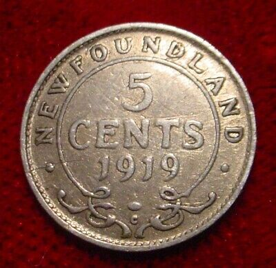 Only 100.844 Minted Scarce Date 1919 Silver 5 Cents Newfoundland Pre Canada